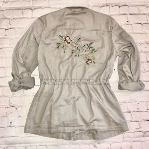 Grey embroidered • floral utility jacket